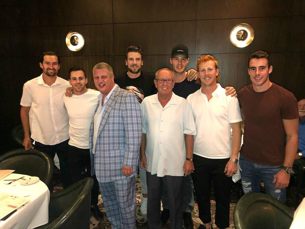 D Las Vegas D Las Vegas CEO Derek Stevens, in plaid suit, and D Las Vegas COO Dave Tuttle, with ...