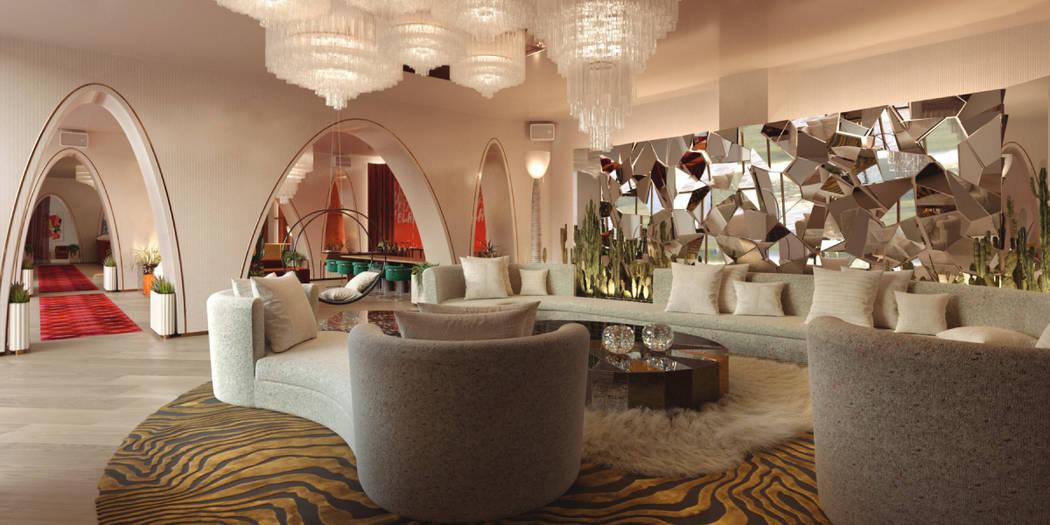 Rendering of Virgin Hotels Las Vegas' lobby lounge. (Rockwell Group)