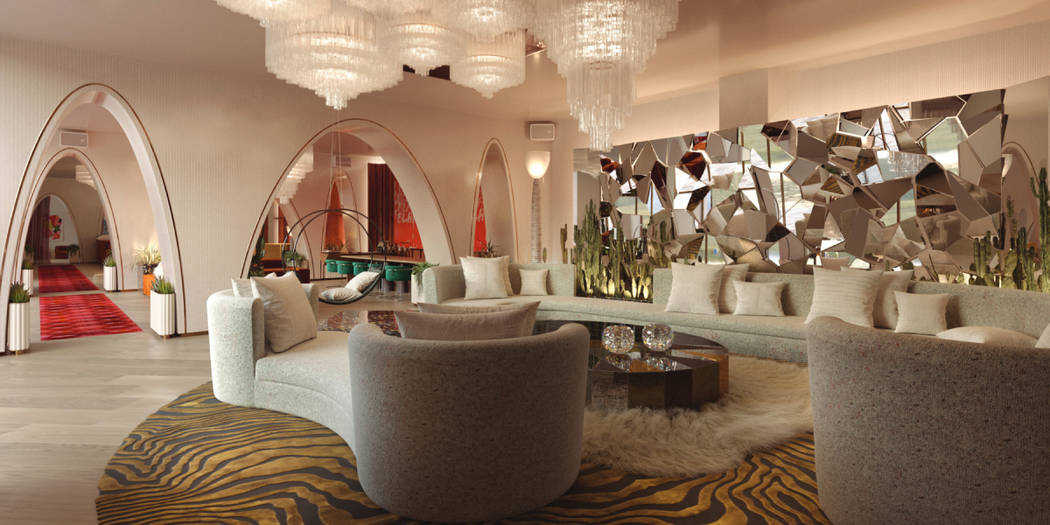 Rendering of Virgin Hotels Las Vegas' lobby lounge. (Rockwell Group)