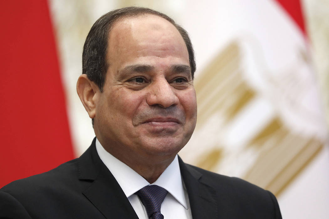 In this June 18, 2019 file photo, Egyptian President Abdel Fattah al-Sisi meets with Belarusian ...