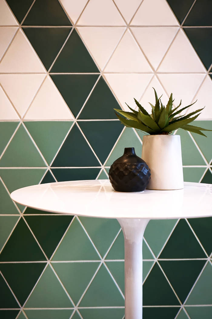 The modern, retro feel of Kaleidoscope, a collection of triangular and square porcelain tiles f ...