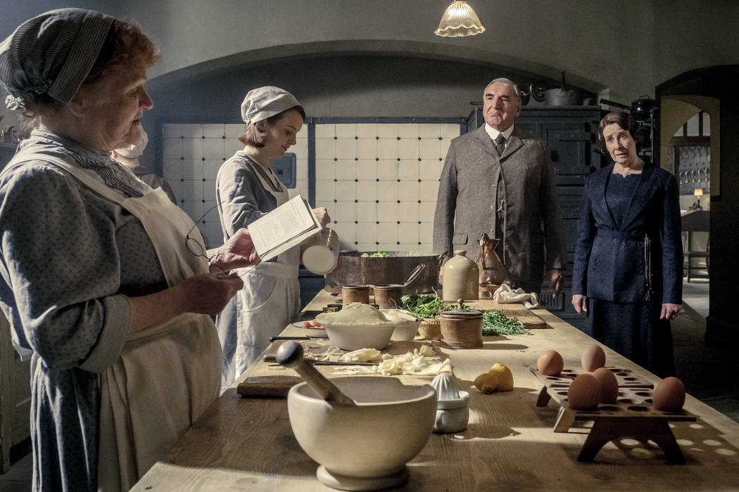 Lesley Nicol, left, stars as Mrs. Patmore, Sophie McShera as Daisy, Jim Carter as Mr. Carson an ...