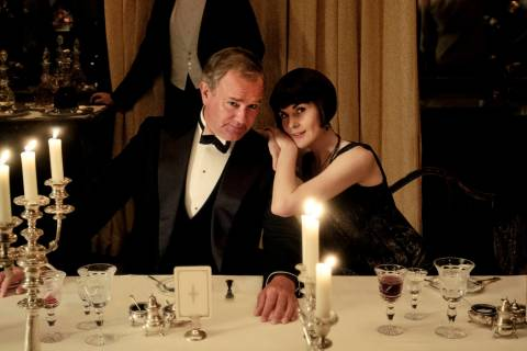 "Actors Hugh Bonneville and Michelle Dockery on the set of (Downton Abbey."" (Jaap Buitendijk/Fo ..."
