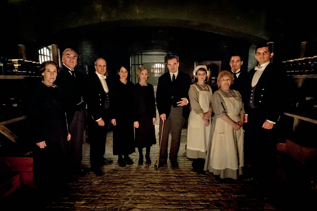 """Downton Abbey"" stars, from left, Phyllis Logan as Mrs. Hughes, Jim Carter as Mr. Carson, Kevin ..."