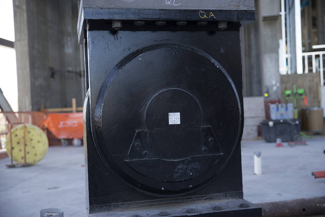 An earthquake friendly column and bearing at the Raiders stadium construction site in Las Vegas ...