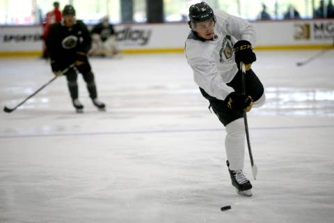 Vegas Golden Knights forward Cody Glass on the first day of rookie camp at City National Arena ...