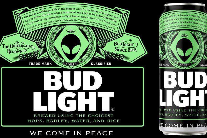 """A mock-up design showing what the alien-themed Bud Light being produced for """"Storm Area 51"""" eve ..."""