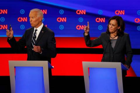 In this July 31, 2019 photo, Sen. Kamala Harris, D-Calif., and former Vice President Joe Biden ...