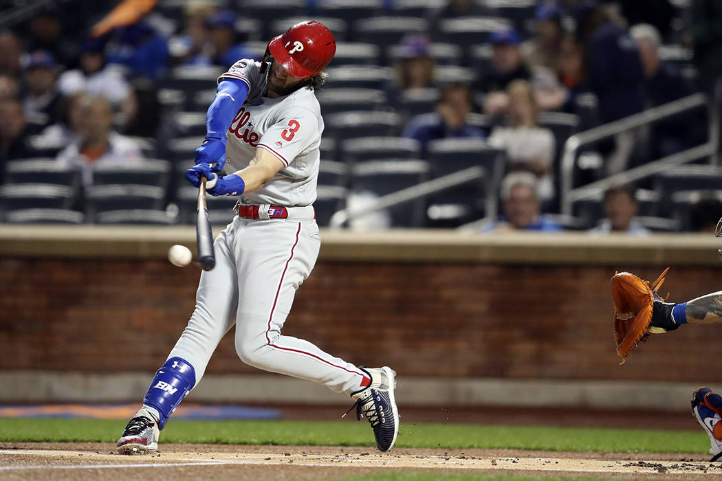 Philadelphia Phillies' Bryce Harper bats during the first inning of a baseball game against the ...