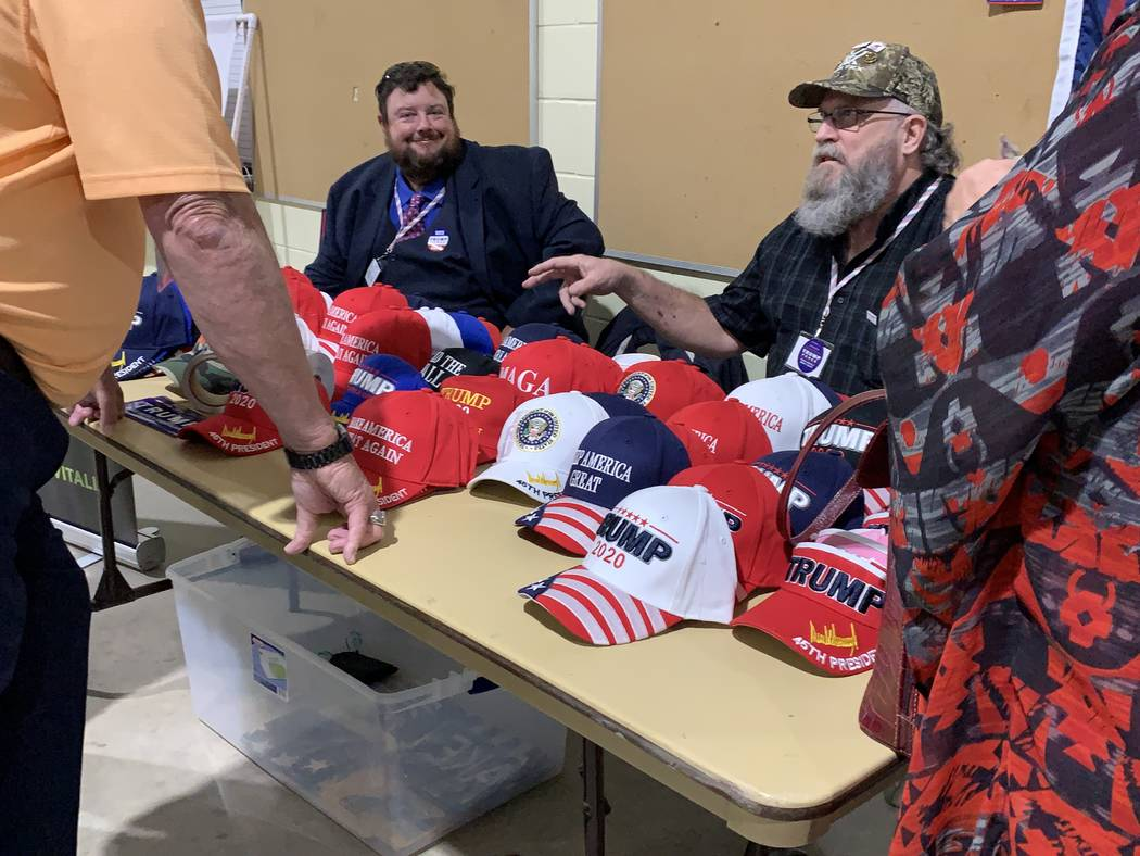 Donald Trump hats and other items on offer at the Nevada Republican state central committee mee ...