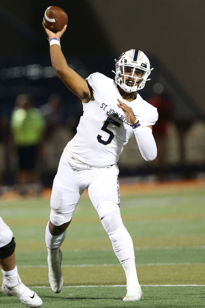 St. John Bosco's DJ Uiagalelei (5) throws a pass against Liberty in the fourth quarter of the P ...