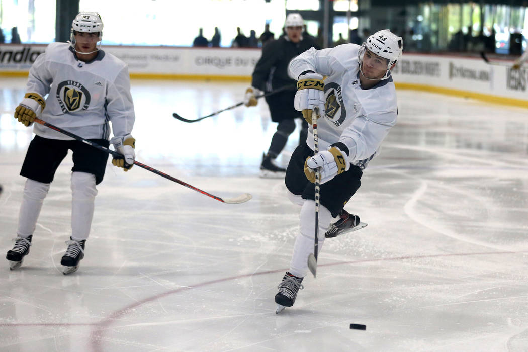Vegas Golden Knights forward Paul Cotter shoots during the first day of development camp at Cit ...