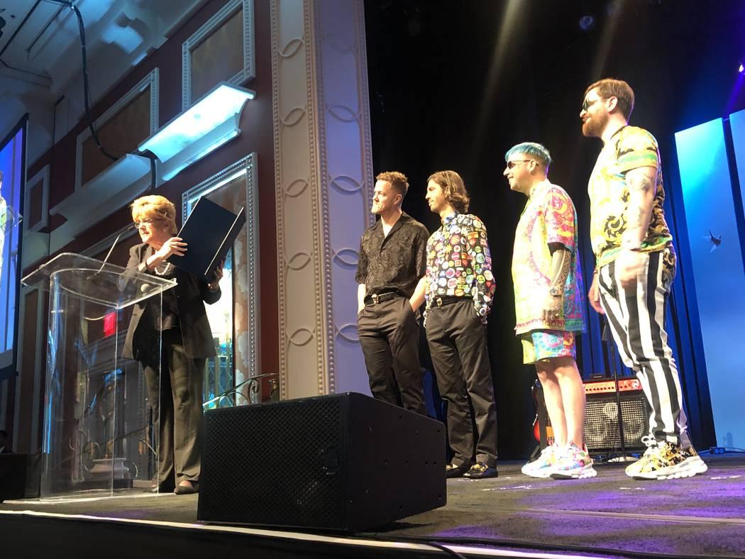 Las Vegas Mayor Carolyn Goodman presents a proclamation making Sept. 6 as Imagine Dragons Day a ...