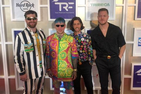 Imagine Dragons, from left: Daniel Platzman, Ben McKee, Wayne Sermon and Dan Reynolds are shown ...