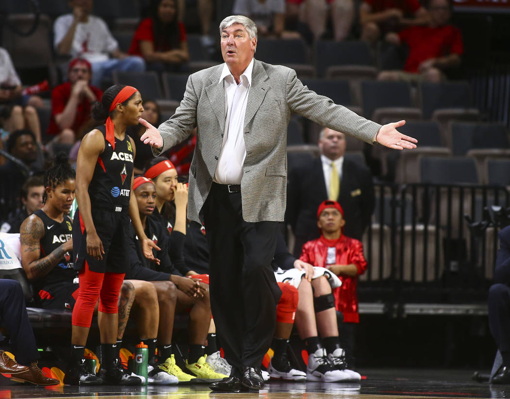Las Vegas Aces head coach Bill Laimbeer reacts during the second half of a WNBA basketball game ...