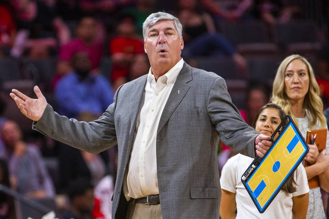Las Vegas Aces head coach Bill Laimbeer is surprised that officials gave away the ball possessi ...