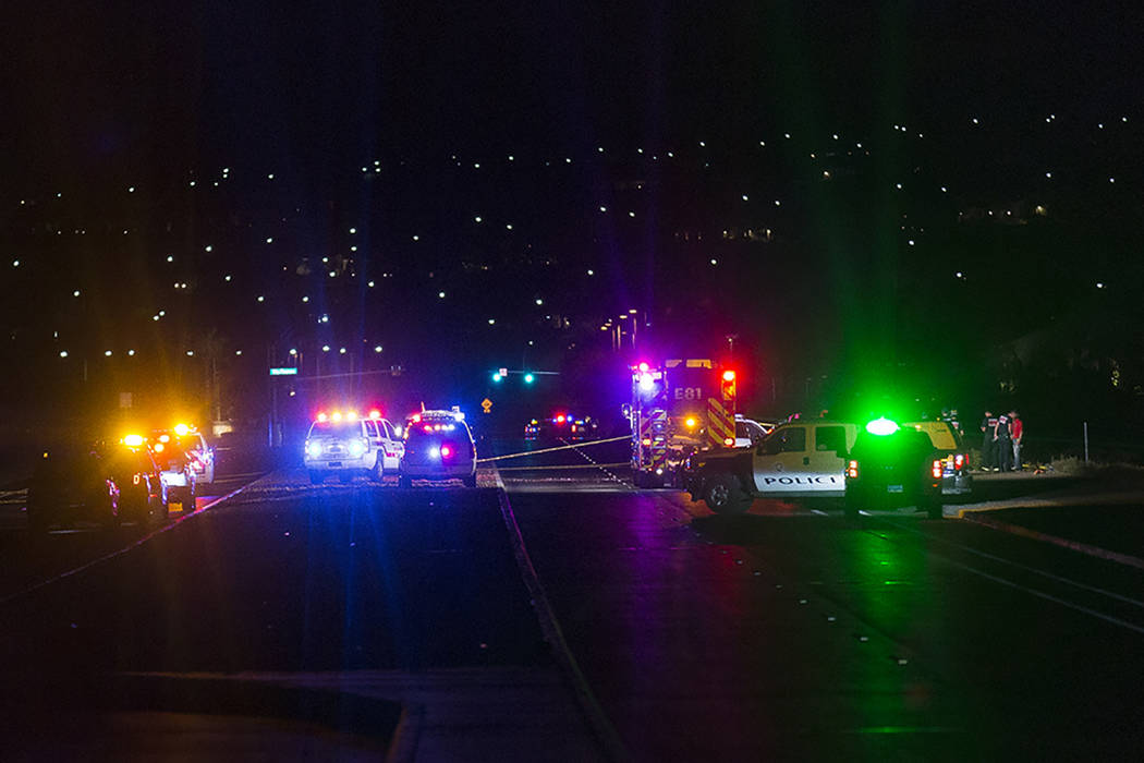 The scene where an airplane crashed just south of the Henderson Executive Airport in Henderson, ...