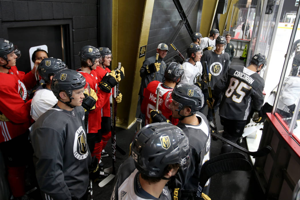 Vegas Golden Knights players take the ice on the first day of rookie camp at City National Aren ...