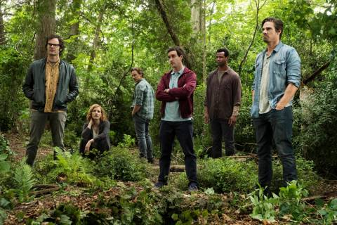 This image released by Warner Bros. Pictures shows, from left, Bill Hader, Jessica Chastain, Ja ...