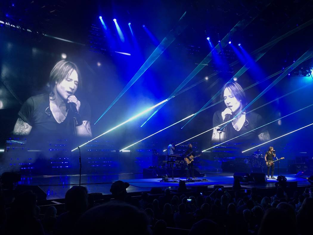 "Keith Urban is shown during his ""Graffiti U"" tour stop at the Colosseum at Caesars Palace on Sa ..."