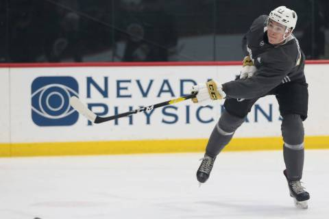 Vegas Golden Knights Mason Primeau (57) shoots the puck during development camp at City Nationa ...