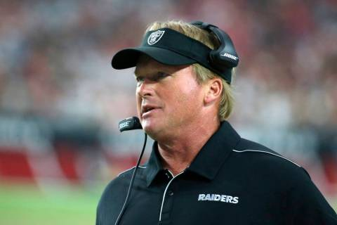 Oakland Raiders head coach Jon Gruden during an an NFL preseason football game against the Ariz ...
