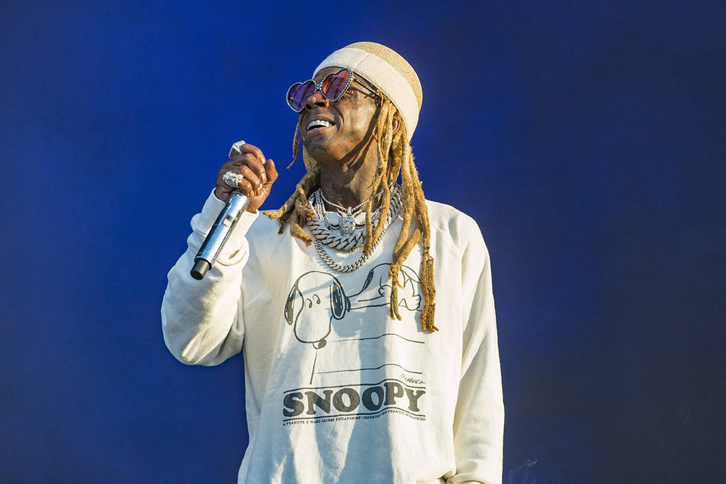 FILE--Lil Wayne performs on day three of Lollapalooza in Grant Park on Saturday, Aug. 3, 2019, ...