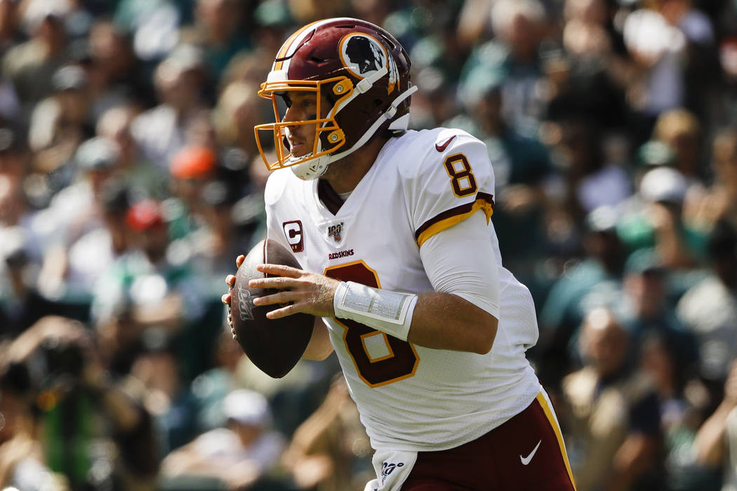 Washington Redskins quarterback Case Keenum in action during an NFL football game against the P ...