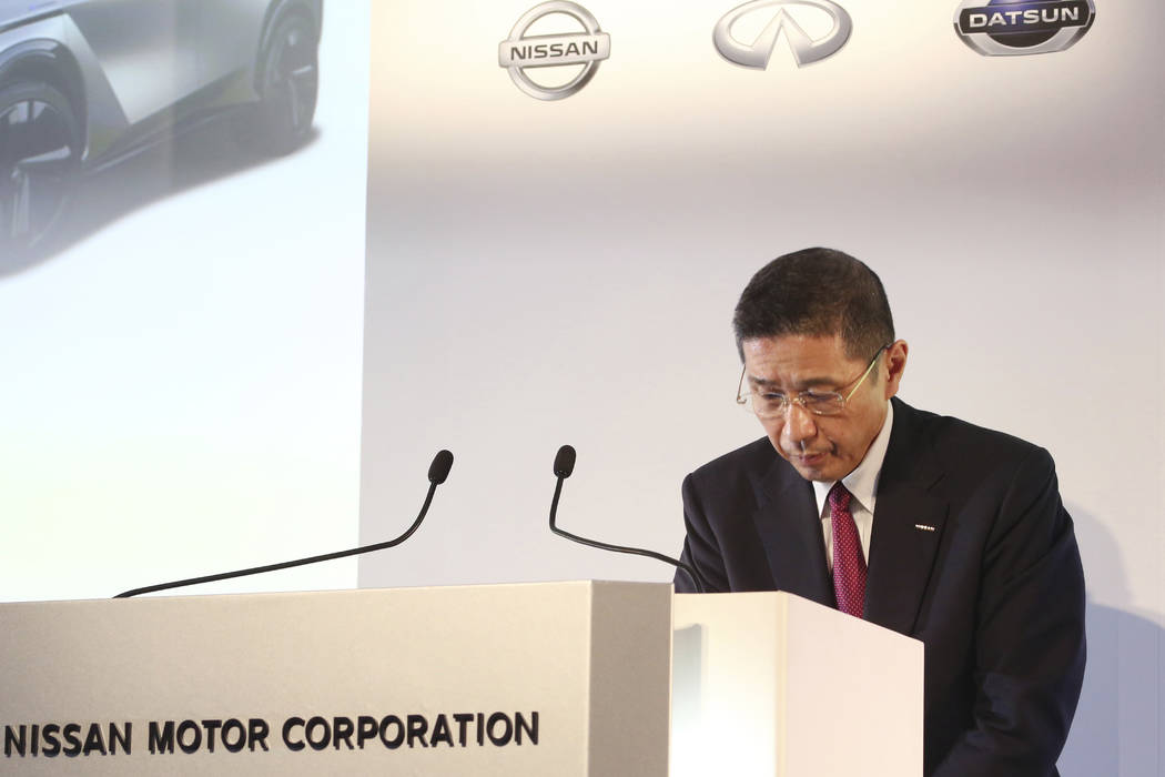 FILE - In this May 14, 2019, file photo, Nissan Motor Co. Chief Executive Hiroto Saikawa bows d ...
