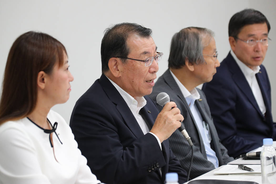 Nissan Motor Co.'s chair of the board of directors Yasushi Kimura, center left, speaks during a ...