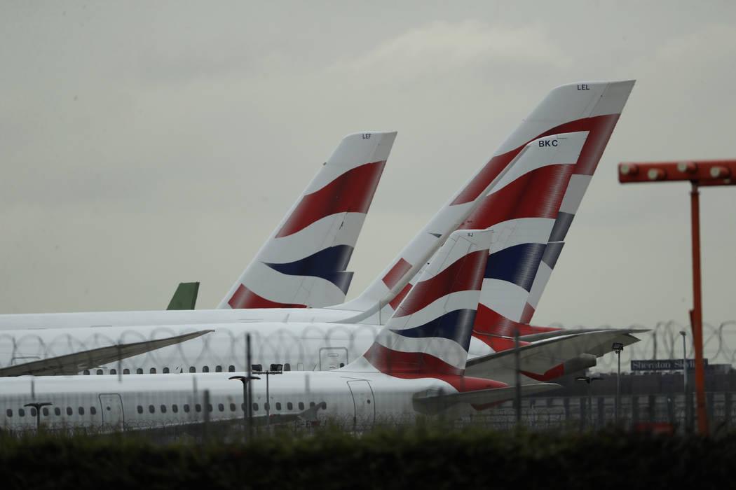 British Airways planes sit parked at Heathrow Airport in London, Monday, Sept. 9, 2019. British ...