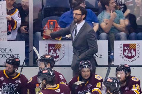 Chicago Wolves head coach Rocky Thompson looks on during Game 4 of the AHL Calder Cup Finals be ...