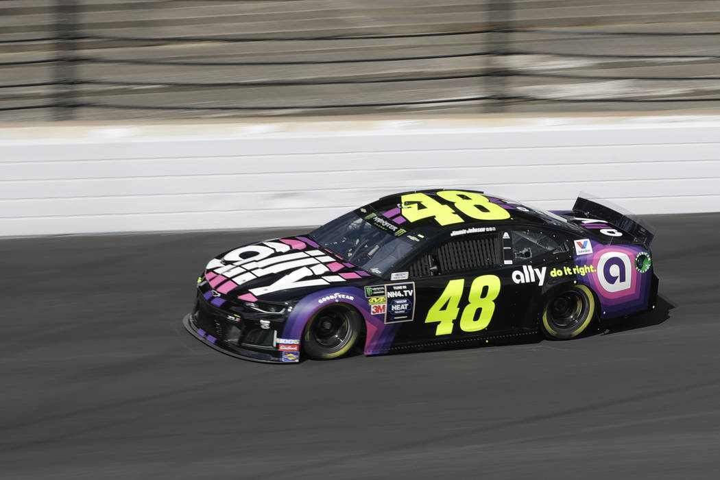 Monster Energy NASCAR Cup Series driver Jimmie Johnson drives into turn one during practice for ...