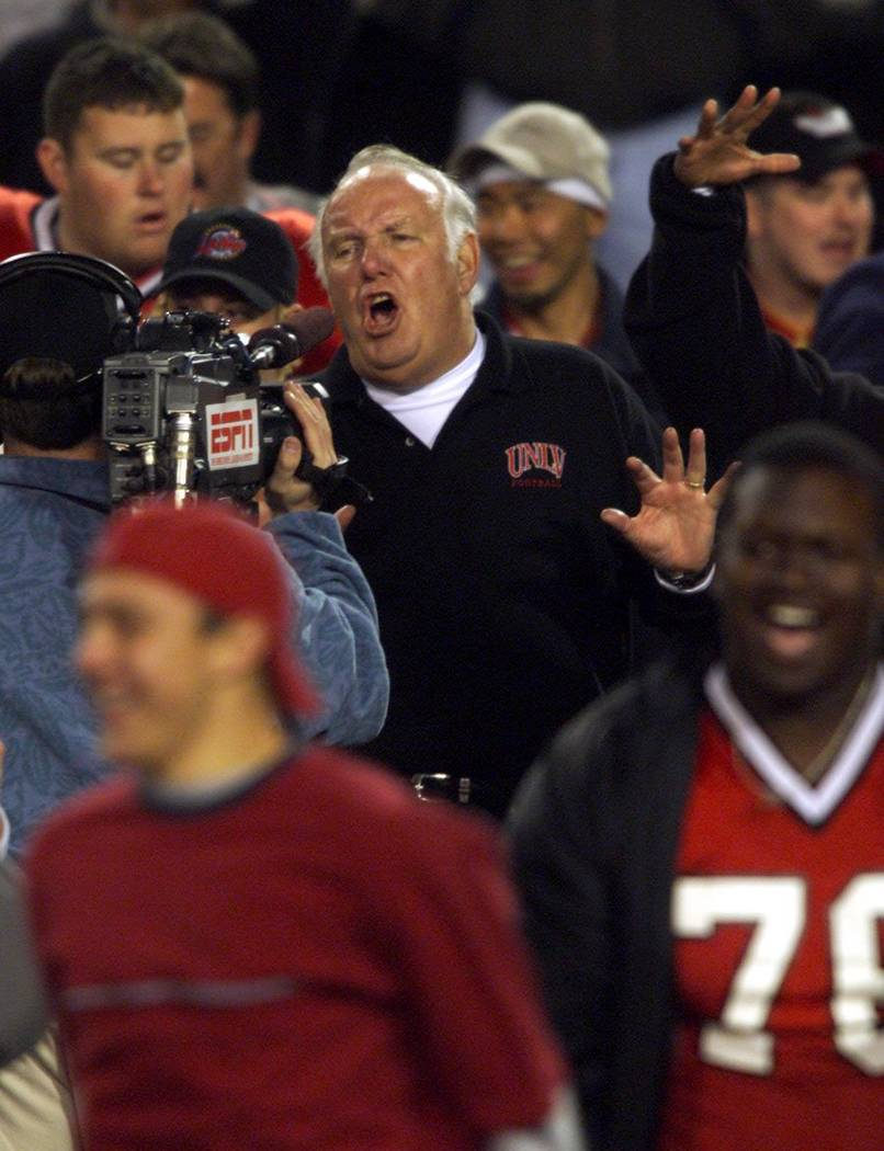 UNLV Head coach John Robinson talks to ESPN cameras immediately after the Rebels beat the Unive ...