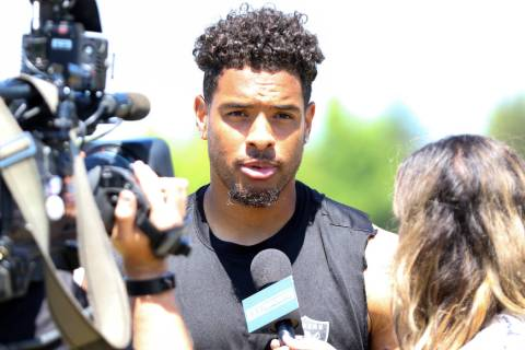 Oakland Raiders wide receiver Keelan Doss gives an interview during the NFL team's training cam ...