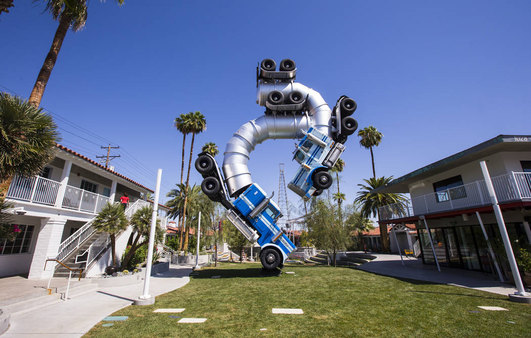 The Big Rig Jig art installation at Fergusons Downtown at Fremont and 11th streets in Las Vegas ...