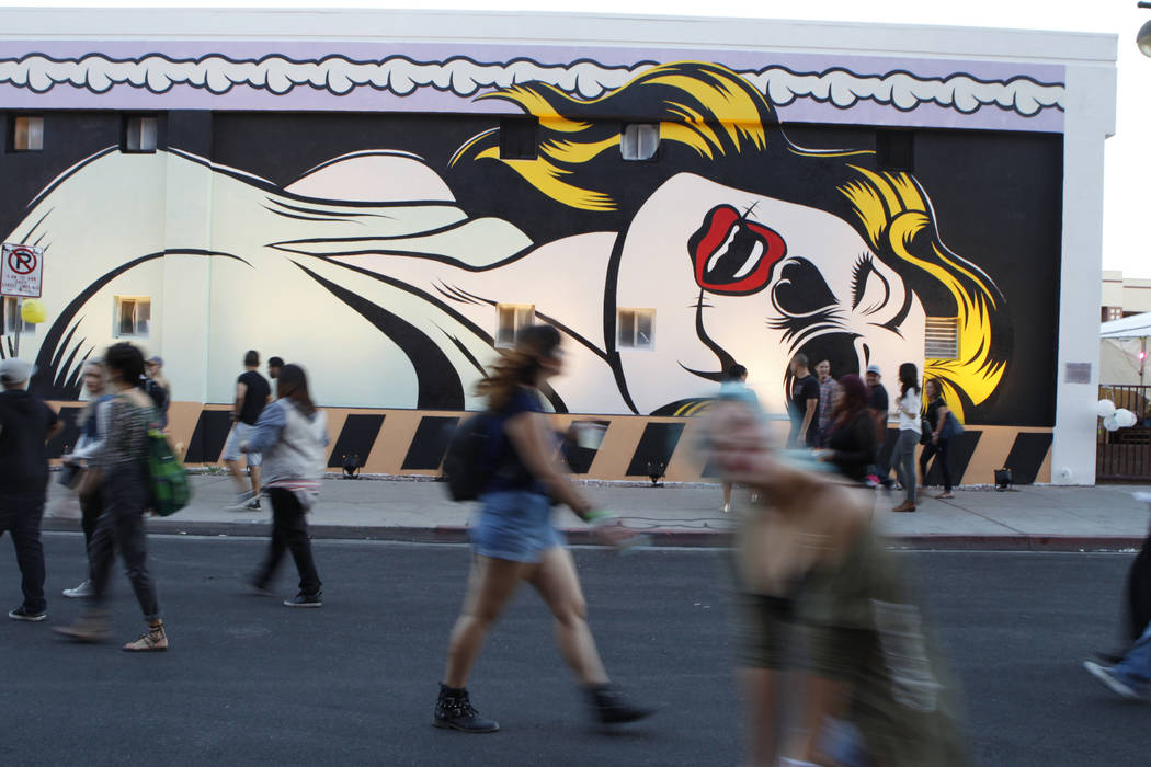 An art mural is seen during day two of the Life Is Beautiful music and art festival in downtown ...