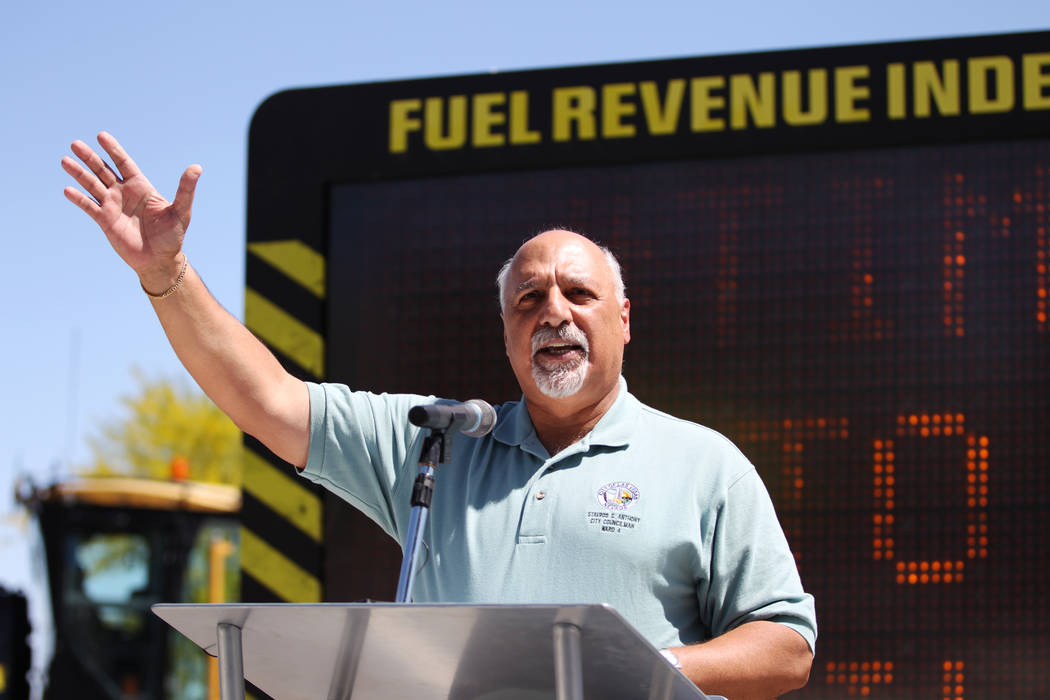 Las Vegas Councilman Stavros Anthony speaks during the Lone Mountain Road Improvement Project s ...
