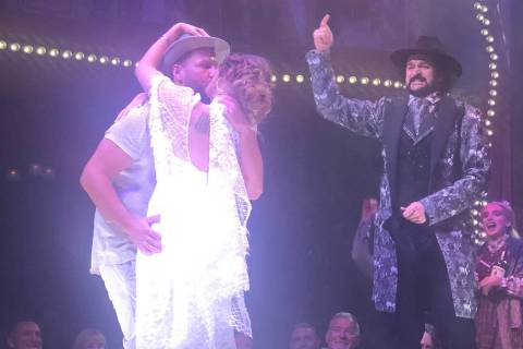 "Reverend Peabody of ""Atomic Saloon Show"" at The Venetian's Grand Canal Shoppes performs a weddi ..."