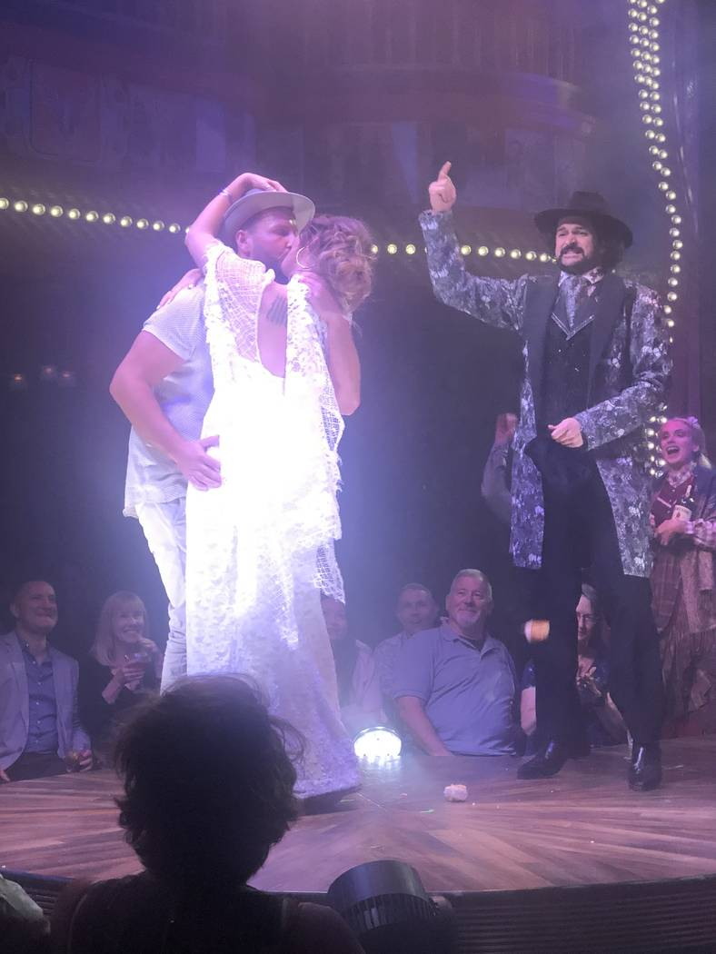 """Reverend Peabody of """"Atomic Saloon Show"""" at The Venetian's Grand Canal Shoppes performs a weddi ..."""