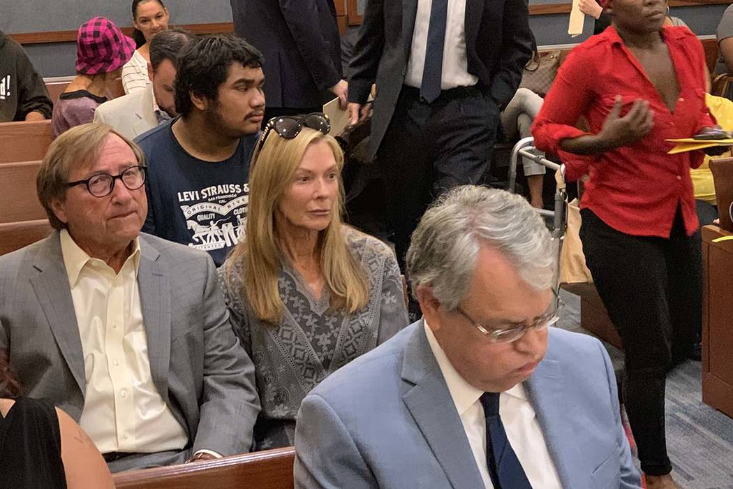Rossi Ralenkatter, seated at left, is in court, Tuesday, Sept. 10, 2019. (Kevin Cannon/Las Vega ...