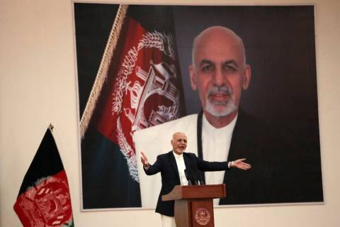 In a Sept. 9, 2019, photo, Afghan President Ashraf Ghani speaks during a ceremony to introduce ...