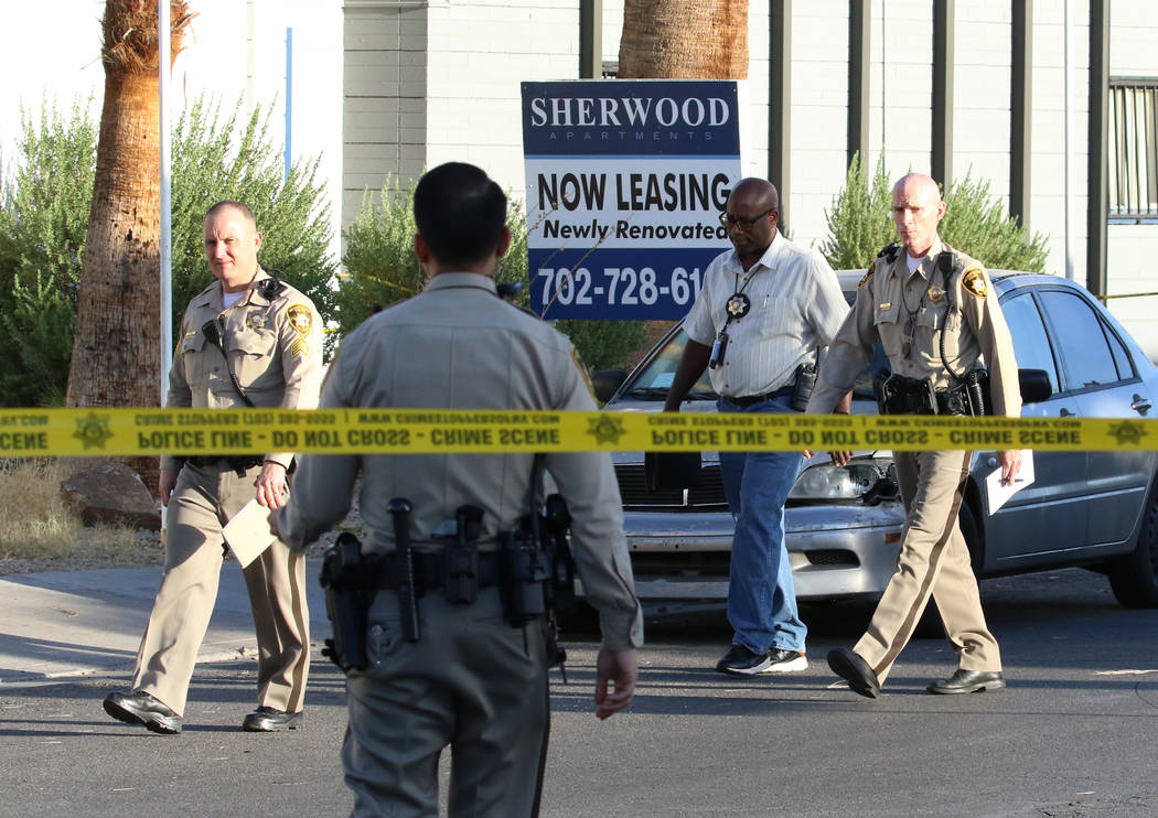 Las Vegas police investigate after a woman was stabbed at Sherwood apartment complex at 2566 Sh ...