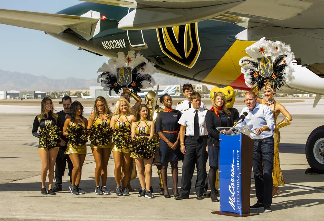 Allegiant CMO Scott DeAngelo speaks as Allegiant unveils a new Golden Knights-themed plane at M ...