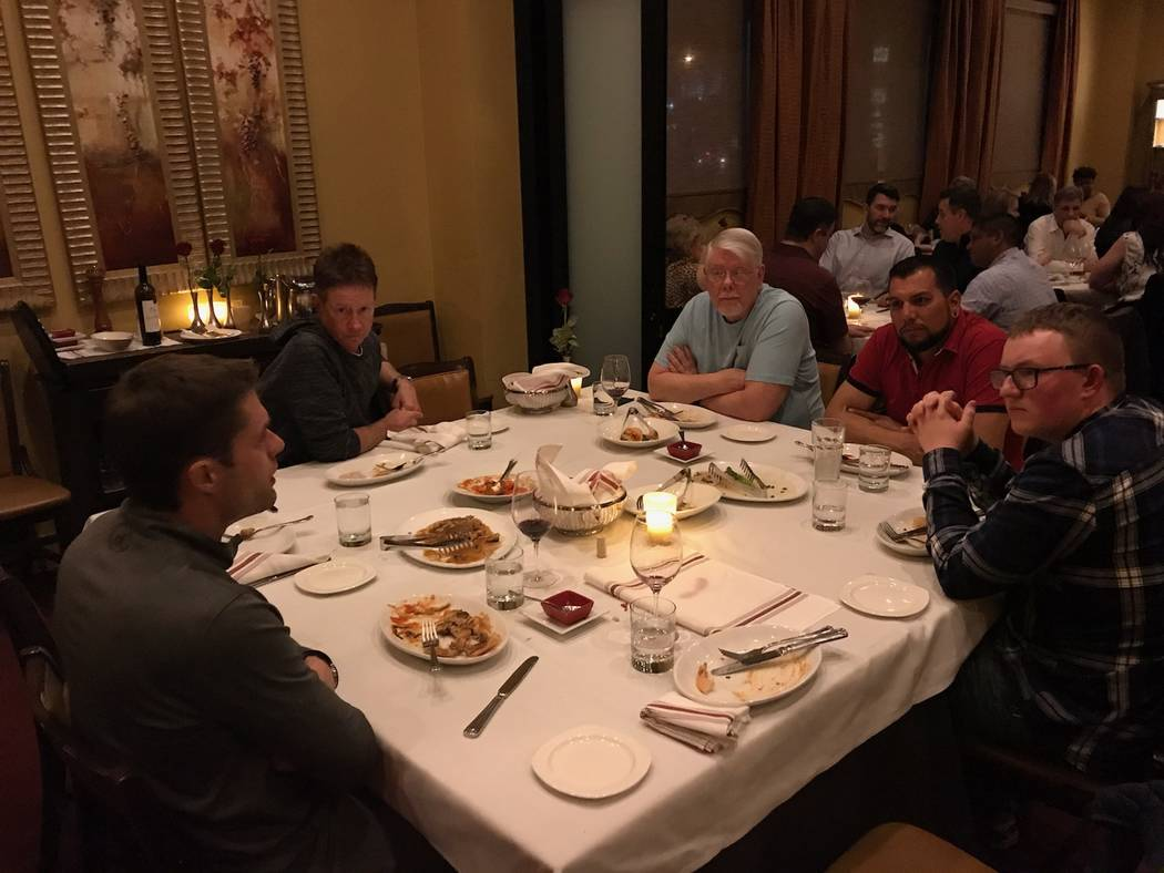 NASCAR driver David Ragan, left, treated Las Vegas race fans he had never met to dinner and con ...