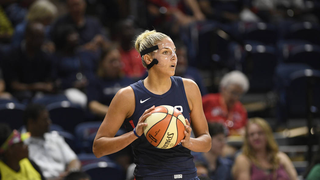 Washington Mystics forward Elena Delle Donne holds the ball during the first half of an WNBA ba ...