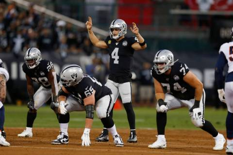 Oakland Raiders quarterback Derek Carr (4) prepares for a play during the first half of an NFL ...