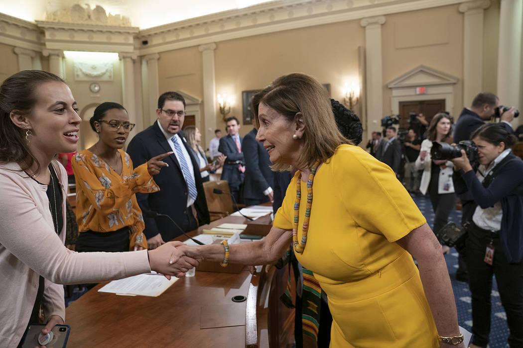 House Speaker Nancy Pelosi, D-Calif., arrives to participate in the House Gun Violence Preventi ...