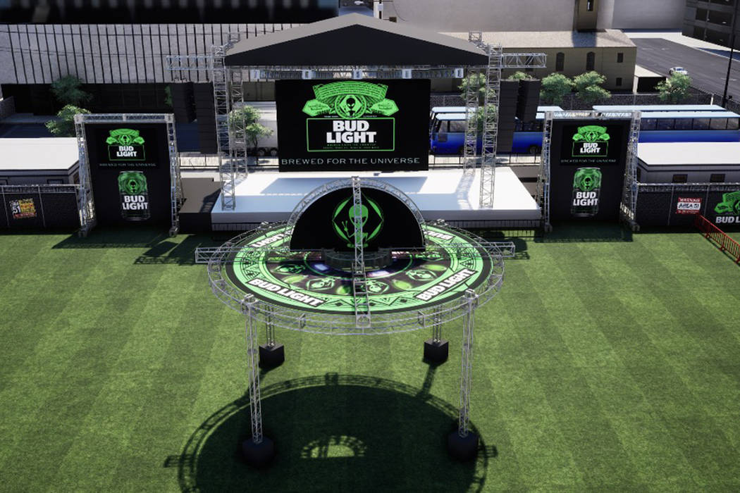 Drawing of what the Bud Light Area 51 Celebration occurring Thursday, Sept. 19, 2019, at the Do ...