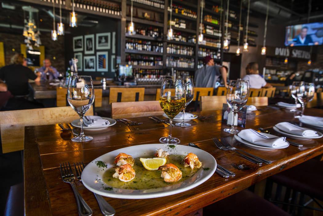 The crab stuffed shrimp at Grape Street Café, Wine Bar & Cellar in Downtown Summerlin on Tuesd ...